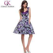 Grace Karin señoras más nuevo diseño de flores impresas de algodón Vintage Pinup vestidos CL008901-9