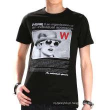 Tshirt feito sob encomenda dos homens do algodão da impressão da tela da forma de três cores