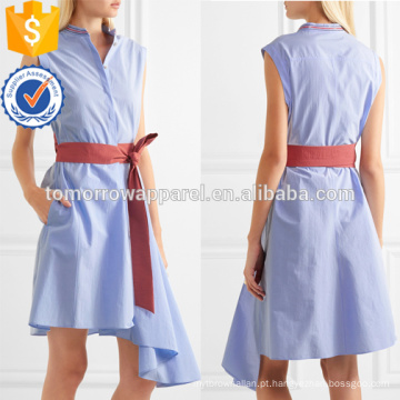 Venda quente assimétrica sem mangas com cinto de algodão vestido de verão diário manufatura atacado moda feminina vestuário (td0001d)