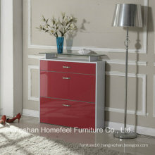Modern 3 Drawers High Gloss Shoe Cabinet with Glass Top