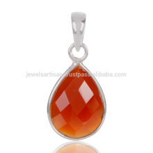 Natural Red Onyx Checker Cut Gemstone 925 Sterling Silver Drop Pendant