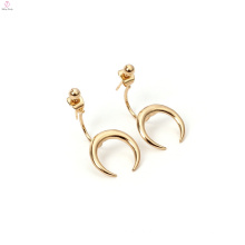 Stud Charm Ohrring Kupfer vergoldet Mond Horn Ohrringe