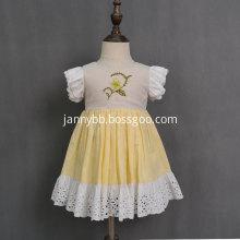 Fashion yellow cotton linen fabric girls baby dresses