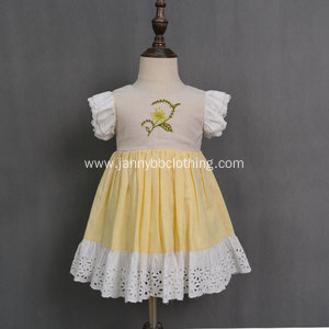 Fashion yellow cotton linen fabric girls baby dresses