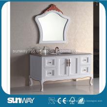 Meubles de salle de bains anciens en style européen avec dessus en marbre (SW-8014A)