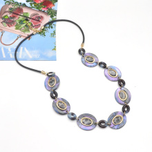 2021 New trendy rainbow purple color acrylic link chain necklace