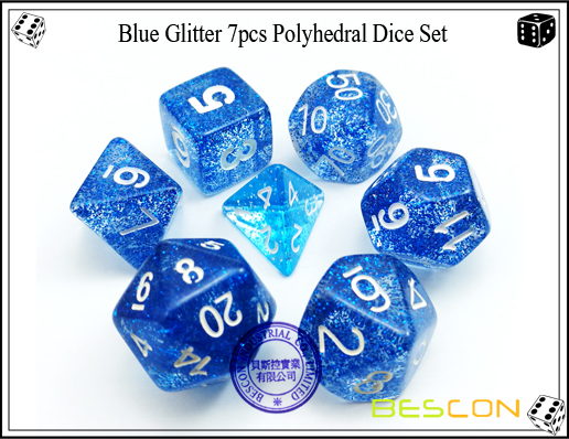 Assorted Colored Glitter 7pcs Polyhedral Dice Set-14