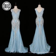 Новых творческих рукавов взрослых женщин жемчуг вечернее платье