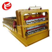 Cold steel roof hydraulic three layer sheet rolling glazed tile used roll forming machine