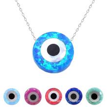 Popular forma redonda azul opala Evil Eye Bead pingente de colar de sorte com 925 corrente de prata