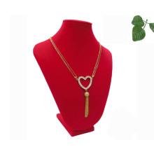 Красный флок МДФ Дисплей ювелирных изделий ожерелье (НС-РФ-47)