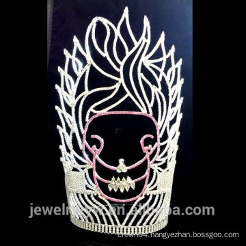 High quality silver plated Crystal skull in the fire halloween crown