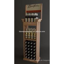 Kundenspezifischer Supermarkt-Großhandelspreis-Liquor Einzelverkauf Freistehende Handels-hölzerne Bier-Anzeigen-Zahnstange