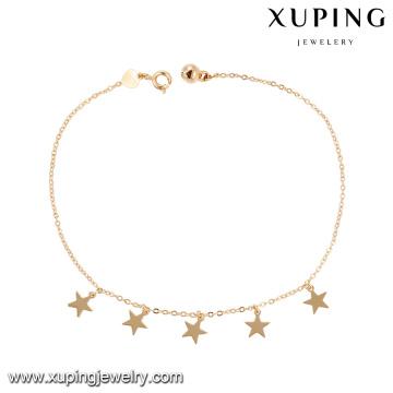 74965 venta al por mayor de joyería de moda 18k color oro diseño simple estrella forma tobillera con pequeña campana para damas