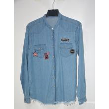 Оптовые дешевые повседневные контрастные джинсовые мужские рубашки