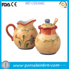 Artistic Hand Painted Creamer and Sugar Jar