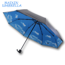 Guangzhou China Supplier Top Quality Customized Logo OEM Flower Print Inside Promotion Cloud Umbrella