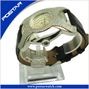 a+ Quality Irregular-Shaped Stainless Steel Watch Genuine Leather Band Psd-2785