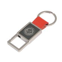 Função promocional metal couro Keychain com laser gravar logotipo (f3043a)
