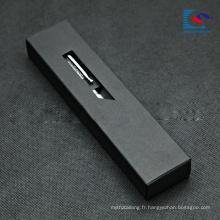 emballage de cadeau de boîte de tiroir de papier de Kraft noir pour le stylo