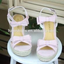 Sandales en paille de bowknot talons hauts à plateforme unique pour chaussures féminines Chaussures féminines douces