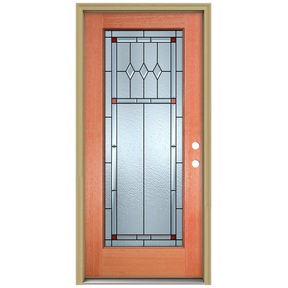 Full Lite Unfinished Mahogany Wood Prehung Front Door