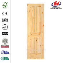 30 in. x 80 in. 2-Panel Solid Core Unfinished Arch Top V-Grooved Knotty Pine Single Prehung Interior Door