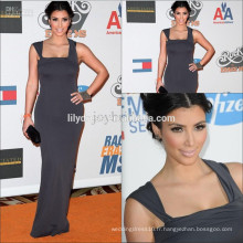 Robe de soiree élégante en satin spaghetti au sol et sur mesure Robes de soirée KD003 kim kardashian