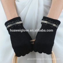 new autumn arrival black color womens unlined soft wool gloves