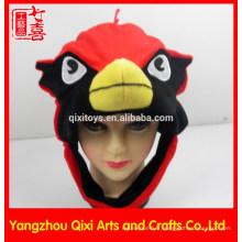 Chapeau d'animal en peluche en forme de tête cardinale d'usine de la Chine pour les enfants