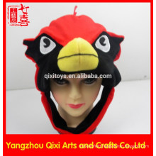 China factory cardinal head shaped plush animal hat for children