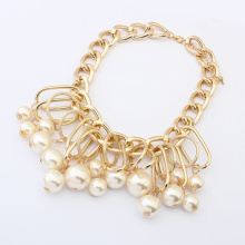 Fashion Palace quality imitation Pearl Necklace Golden color big chain woman choker necklace wholesale jewelry