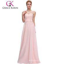 Grace Karin sin mangas V-Back luz rosa gasa más vestido de noche de talla CL007555-1