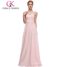 Grace Karin Sleeveless V-Back Light pink Chiffon Plus Size Evening Dress CL007555-1