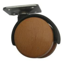 Wooden/ Nylon Twin Wheel Castors with Top Fixing Plate