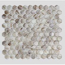 Brown Hexagonal Glass Mosaic Tiles For Shower Room