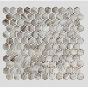 Azulejo mosaico de vidrio de fusión en caliente hexagonal de Brown Tans