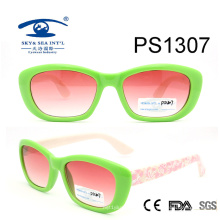 Latest Green Frame Colorful Kid Plastic Sunglasses (PS1307)