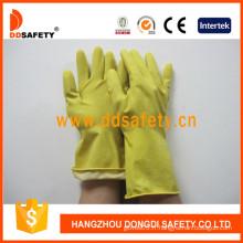 Gants de ménage de latex / caoutchouc jaune, DIP / revêtement de troupeau de jet (DHL303)