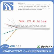 Cable de cobre sólido UTP de la red de 1000FT 4pairs Cat6