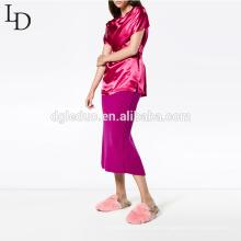 Blusa de manga corta para mujer de diseño nuevo Camiseta de verano 100% viscosa
