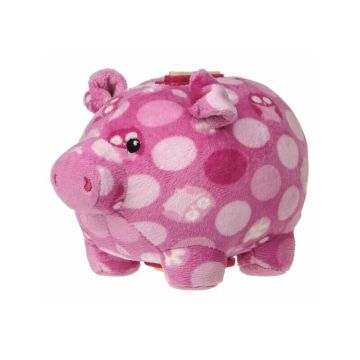 White spots stand pink pig piggy bank
