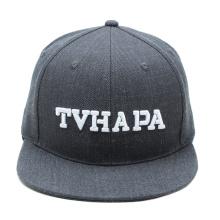 promoción gris personalizado snapback sombrero de lana 3d bordado snap back sombreros