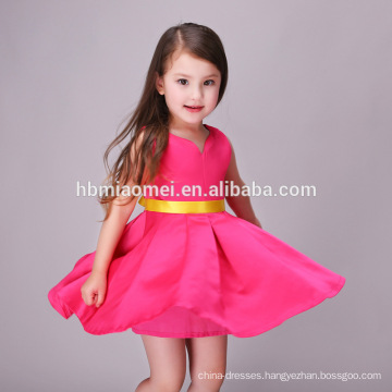2017 Hot Sale Rose Color Sleeveless Frocks Little Girls Party Wear Western Dress Pari Dress for Baby Girl