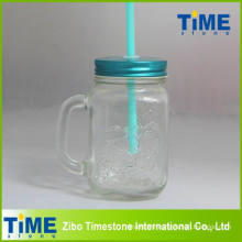 Glass Clear Mason Jar with Straw (15041802)