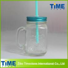 Glas klar Einmachglas mit Strohhalm (15041802)