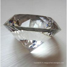Exquise cristal décoration cristal transparent diamant presse-papiers en verre