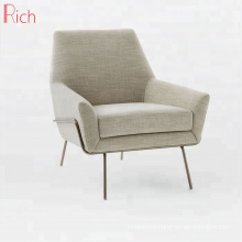 Contemporary furniture One Seater Sofa Beige Fabric Accent Chairs For Bedroom