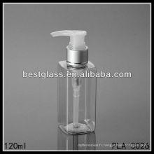 Bouteille en plastique d'animal familier de 120ml, bouteille carrée d'animal familier pour la lotion avec la pompe