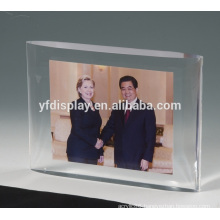 two clear acrylic soli block embedment with hot seamless skill